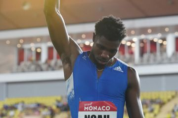 Noah Lyles poses after winning the 200m at the Diamond League meeting in Monaco (Matt Quine)