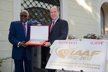 President Lamine Diack presents an IAAF Centenary Plaque to HSH Prince Albert II of Monaco