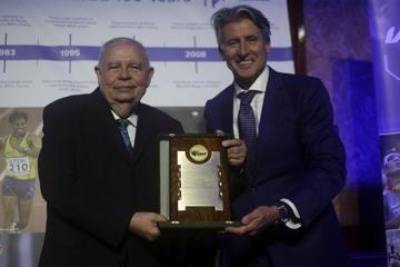 Roberto Gesta De Melo receives an IAAF Commemorative Plaque from IAAF President Sebastian Coe - CONSUDATLE Centennial Dinner, Gran Salon, Panamerican Hotel, Buenos Aires