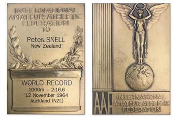 Peter Snell's 1000m world record plaque